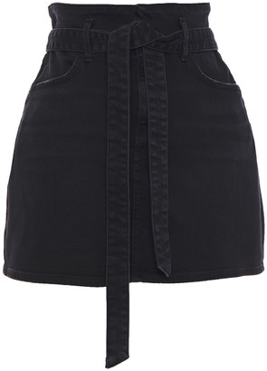 Alice + Olivia Belted Distressed Denim Mini Skirt