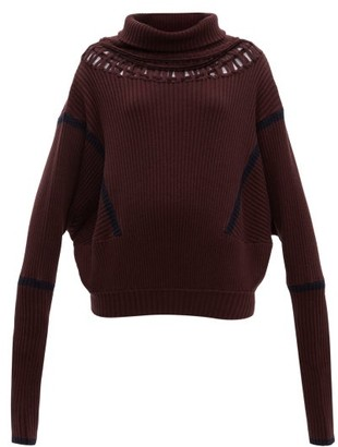 Palmer Harding Palmer//harding - Roll-neck Cut-out Wool-blend Jumper - Womens - Burgundy