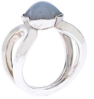 Montblanc Cabochon de Milky Quartz Silver Ring Size 50