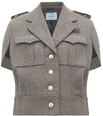 Prada Single Breasted Wool Cape - Womens - Grey