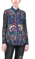 Desigual Women's Lace Woven Long Sleeve Shirt, Navy, XS