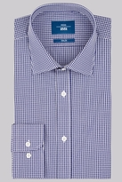 Moss Bros Slim Fit Navy Single Cuff Check Shirt