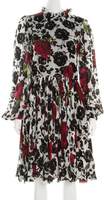 Dolce & Gabbana Multicolor Rose Printed Silk Long Sleeve Dress M