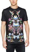Jaded London Men's Navy Mirrored Floral Bird Print T-Shirt