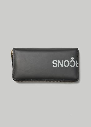 Comme des Garcons Women's Huge Logo Leather Line Large Zip Around Wallet in Black