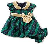 Bonnie Jean Bonnie Baby Baby Girls Newborn-24 Months Christmas Metallic-Plaid Taffeta Dress