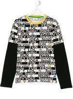 Fendi slogan print sweatshirt - kids - Cotton/Spandex/Elastane - 14 yrs
