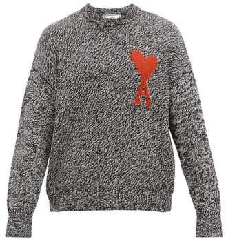 Ami Logo Intarsia Cotton Blend Sweater - Mens - Black