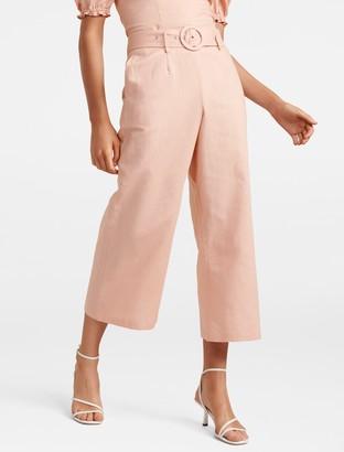 Forever New Elise Petite Linen-Blend Pants - Blush - 4
