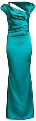 Talbot Runhof Stretch Duchess Satin Cutout Cap-Sleeve Gown
