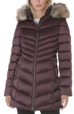 ssjjsacv Womens Warm Down Coat Belted Faux Fur Hooded Glossy Puffer Jacket