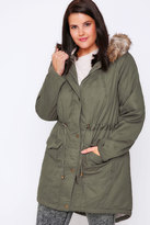 Yours Clothing Khaki Twill Lined Parka With Fur Trim Hood