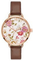 Merona Women's Floral Dial Strap Watch Rose Gold/Brown