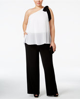 INC International Concepts Plus Size One-Shoulder Colorblocked Jumpsuit, Only at Macy's