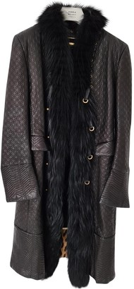 Roberto Cavalli Black Leather Coat for Women