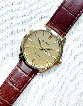 Sekonda leather watch in brown with gold dial