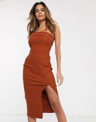 Vesper bandeau bodycon midi dress with leg split in brown