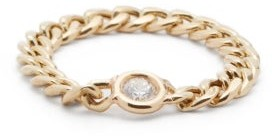 Zoë Chicco Curb-chain Diamond & 14kt Gold Ring - Gold
