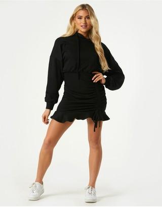 Little Mistress Sohan Black Ruched Hoodie Sweatshirt Dress