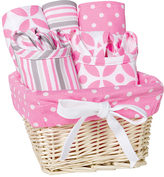 Trend Lab Pink & White Stripe & Dot Lily Feeding Gift Set