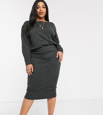 Micha Lounge Curve overlay knitted dress with rib hem-Grey