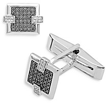 Bloomingdale's Bloomingdales Black & White Diamond Cufflinks in 14K White Gold - 100% Exclusive