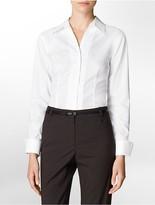 Calvin Klein Solid Non-Iron Cotton Button Front Long Sleeve Top