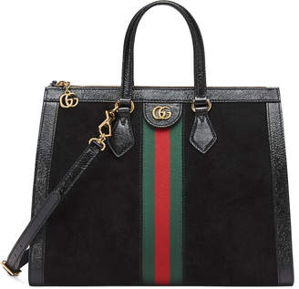Gucci Ophidia Web Suede Top-Handle Tote Bag