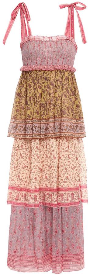 Zimmermann Juniper Tiered Printed Crinkled Cotton And Silk-blend Midi Dress
