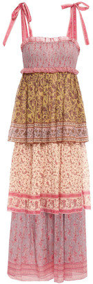 Zimmermann Juniper Tiered Printed Crinkled Cotton And Silk-blend Midi Dress