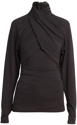 Isabel Marant Georgina Draped Jersey Turtleneck Top