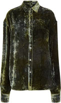 Y Project Green Velvet Button Back Shirt