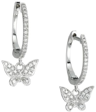 Meira T 14K White & Diamond Butterfly Charm Huggie Hoop Earrings