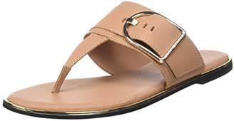 Tommy Hilfiger Women's Flat Sandal Oversized Buckle T-Bar, Brown (Silky Nude 297)