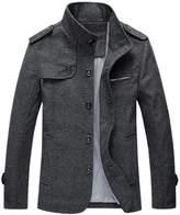 Qiyun Men England Gentlemen Stand Collar Single-Breasted Autumn Winter Thicken Jacket