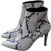 Portamento - Venus Snake Ankle Boots - 36 - Black/White