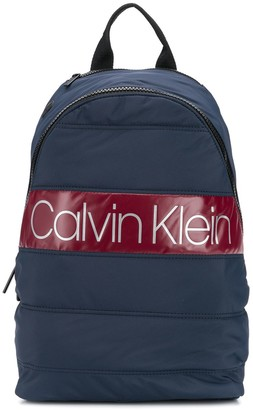 Calvin Klein quilted logo patch backpack