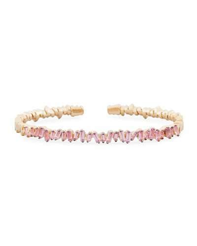 Suzanne Kalan Baguette Pink Sapphire Bangle Bracelet in 18K Rose Gold