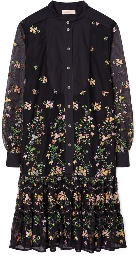 Tory Burch Embroidered Tulle Tunic Dress