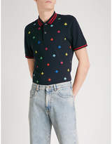 Gucci Bee-embroidered slim-fit stretch-cotton polo shirt