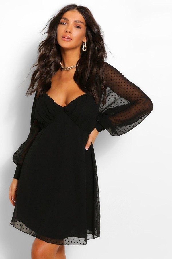 boohoo Dobby Mesh Rouched Bust Babydoll Smock Dress