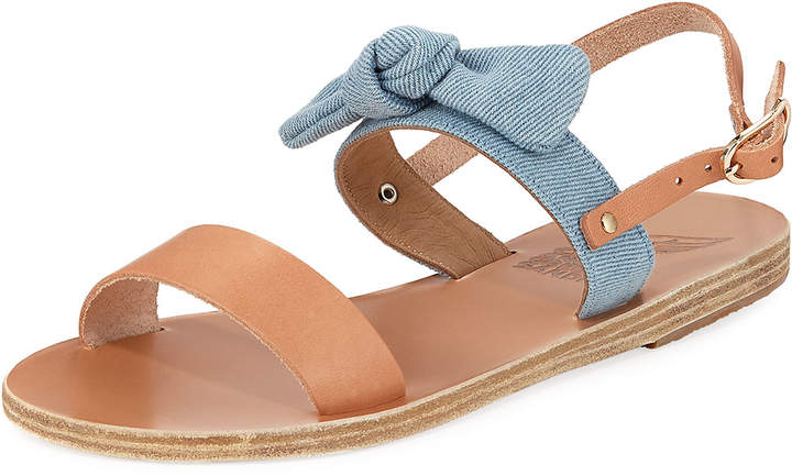 Ancient Greek Sandals Clio Denim Bow Flat Slingback Sandal