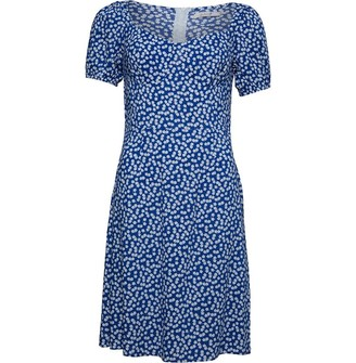 Onfire Womens Short Sleeve Printed Dress Navy/White