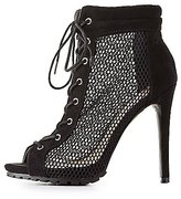 Charlotte Russe Mesh Lace-Up Peep Toe Booties