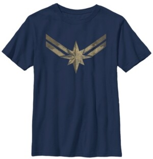 Fifth Sun Marvel Big Boys Captain Marvel Big Boys Movie Gold-Tone Blue Logo Short Sleeve T-Shirt