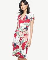 Ann Taylor Petite Palm Leaf Short Dolman Sleeve Wrap Dress
