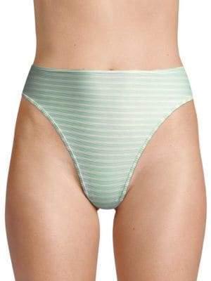 L-Space LSpace Women's Pierre High-Waist Ribbed Bikini Bottom - Spearmint - Size Small
