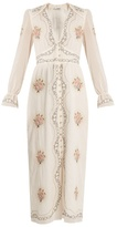 Vilshenko Kora deep V-neck embroidered cotton midi dress