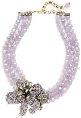 Heidi Daus Lilly Three-Stand Beaded Pendant Necklace