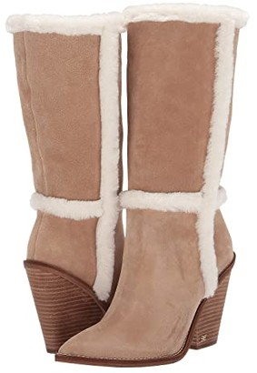 Sam Edelman Ilsa (Oatmeal/Ivory Velutto Suede Leather/Sheared Fox Fur) Women's Dress Flat Shoes